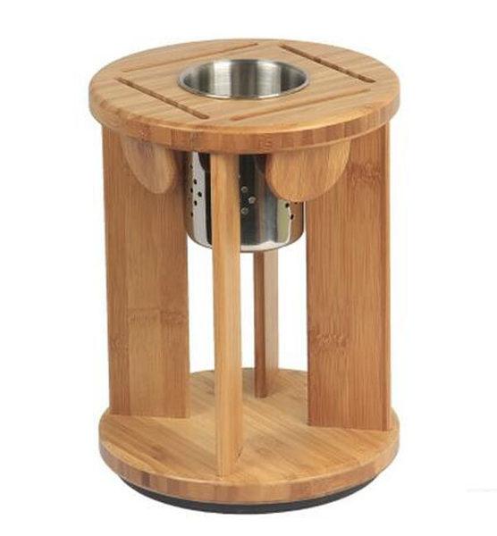 創意旋轉多功能圓形刀座帶筷籠防黴通風竹收納置物架廚房用品