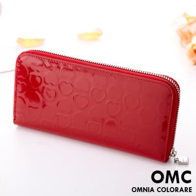 OMC - 真皮繽紛愛心果凍皮質感長夾 - 魅力唇膏紅