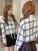 短版外套 2019秋季新款韓版拉鏈半高領格子短款上衣休閑顯瘦長袖外套女