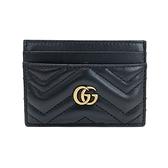 【台中米蘭站】全新品 GUCCI GG Marmont V縫線牛皮卡片夾(443127-黑)