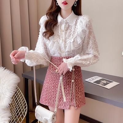 短袖套裝~7160#春新款設計感氣質淑女名媛小香風蕾絲衫修身半身裙套裝H311-E胖妞衣櫥