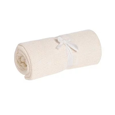 英國 mothercare 中大床棉毯/洞洞毯-米色