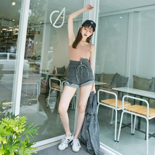 LULUS-神褲2.0-A雙釦腰繫帶高腰牛仔短褲S-XL-2色 現+預 【04020498】