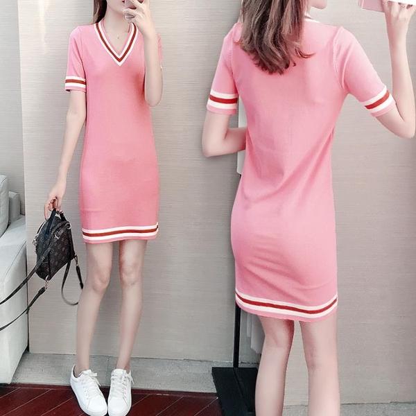 針織連身裙 韓版時尚氣質小個子淑女冰絲針織v領連身裙女夏季修身顯瘦裙子女 小宅女