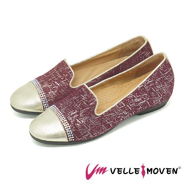 懶人鞋 樂福鞋 休閒鞋 舒適牛皮 MIT製作 水鑽絢麗面 VelleMoven _絢麗紅