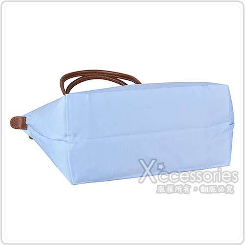 LONGCHAMP Le Pliage系列尼龍摺疊長提把肩背包(小/迷霧藍)