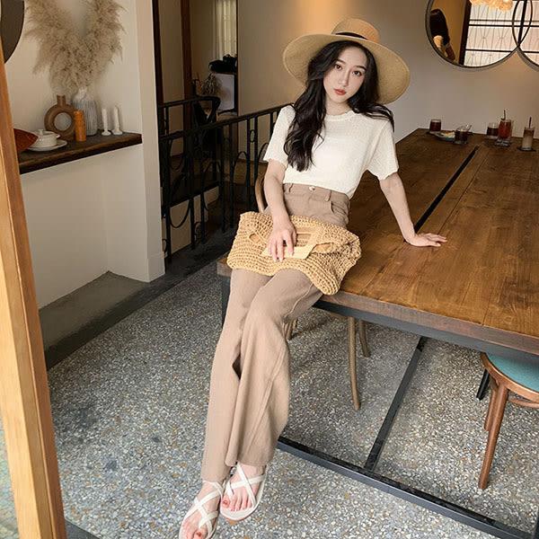 LULUS-Y棉麻高腰寬管長褲S-L-2色  【04190149】