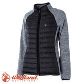 【Wildland 荒野 女款 RE羽絨拼接保暖外套《黑》】52993/防潑水/天鵝絨/防風