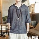 夏季短袖T恤男中國風打底衫亞麻V領體恤寬鬆大碼上衣棉麻印花漢服 自由角落