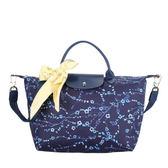 LONGCHAMP_Sakura尼龍手提袋兩用包肩包手提包肩背包側背包斜背包(海軍藍)480534-006
