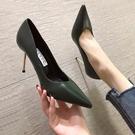 法式軟皮高跟鞋女細跟性感尖頭黑色不磨腳單鞋裸色春秋【慢客生活】