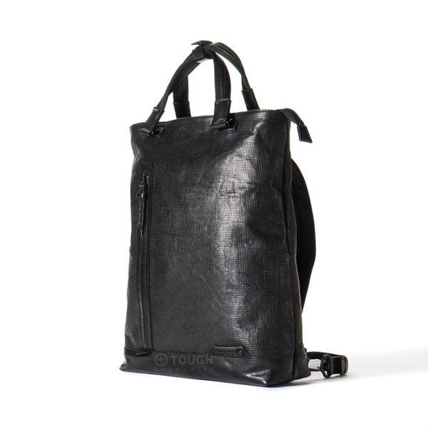 【TOUGH】經典小格紋皮革手提包後背包(黑)
