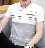 夏季條紋v領短袖T恤男韓版修身上衣服青年夏天半袖打底衫男裝體恤「時尚彩紅屋」