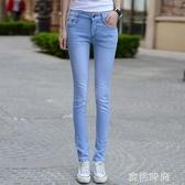 新款顯瘦修身高腰天藍牛仔褲女長褲彈力韓版學生九分小腳鉛筆褲女『蜜桃時尚』