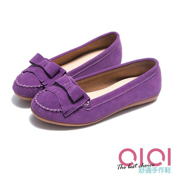 豆豆鞋 輕恬美人麂皮流蘇蝴蝶結豆豆鞋(紫) * 0101shoes 【18-995pu】【現+預】
