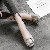 女平底鞋 韓版女鞋子 一腳蹬兩穿方頭女鞋淺口搭扣單鞋休閒平底豆豆鞋休閒鞋《小師妹》sm3515