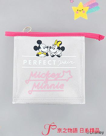 【京之物語】現貨-日本正版商品迪士尼米奇米妮銀色金蔥正方形拉鍊化妝包 收納包