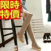 長靴-休閒明星同款皮帶搭扣厚底內增高過膝女馬靴3色64e8[巴黎精品]
