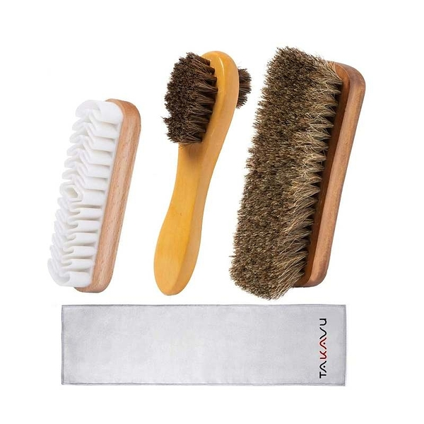 TAKAVU擦鞋工具包 4件組 馬毛刷 100% Soft Horsehair Bristles Brush 適用皮製品 [9美國直購]