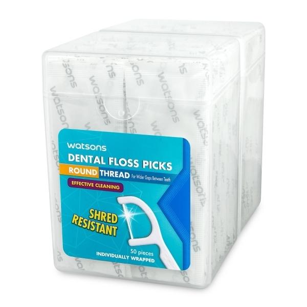 屈臣氏圓線護理牙線棒單支包50支2盒