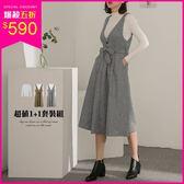 (現貨)PUFII-套裝 立領坑條針織上衣+V領吊帶混織長裙兩件式套裝 2色-1206 現+預 冬【CP15691】