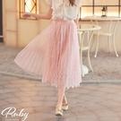 裙子 百褶花朵蕾絲鬆緊紗裙長裙-Ruby...