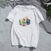 【99免運】夏季新款短袖T恤男士休閒寬鬆大碼圓領純棉印花青少年上衣潮