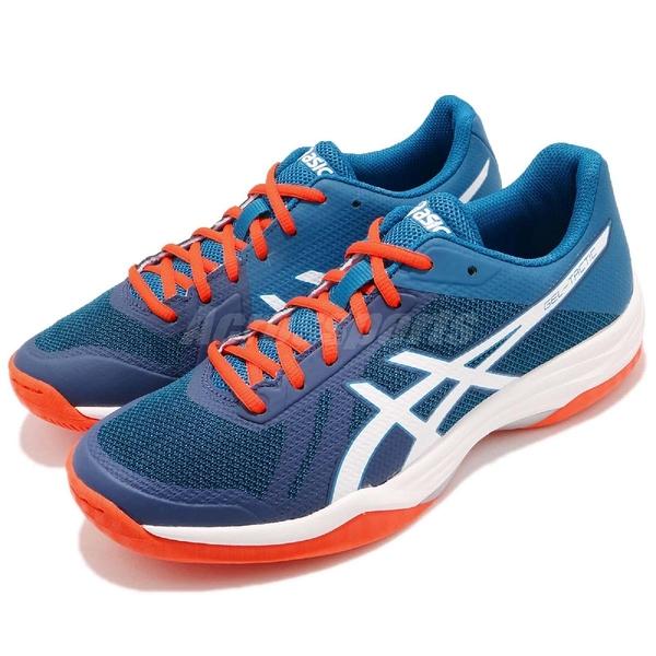 【六折特賣】Asics 排羽球鞋 Gel-Tactic 藍 橘 白底 進階款 男鞋 運動鞋 【ACS】 B702N401