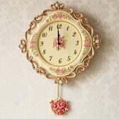 歐式鐘擺樹脂掛鐘靜音田園客廳臥室壁鐘創意時尚掛錶鐘新婚 wy   八折免運 最後一天