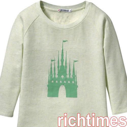 城堡七分袖圓領T恤(淺青)~M   UQ3A2210