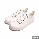 KANGOL 女 帆布餅乾鞋 白 黑標-6952200100
