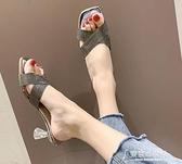 高跟 細跟高跟涼拖鞋女外穿2020夏季新款韓版時尚百搭交叉帶一字拖  【快速出貨】