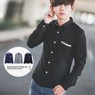 襯衫 簡約造型口袋素面長袖襯衫【N976...