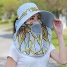 春夏干農活防曬帽子紫外線可折疊遮臉大頭圍女采茶下地大號遮陽帽 印巷家居