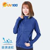 UV100 防曬 抗UV-透氣拼接連帽外套-女