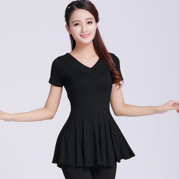 618好康鉅惠 廣場舞服裝上衣短袖跳舞衣服大碼舞蹈練功服