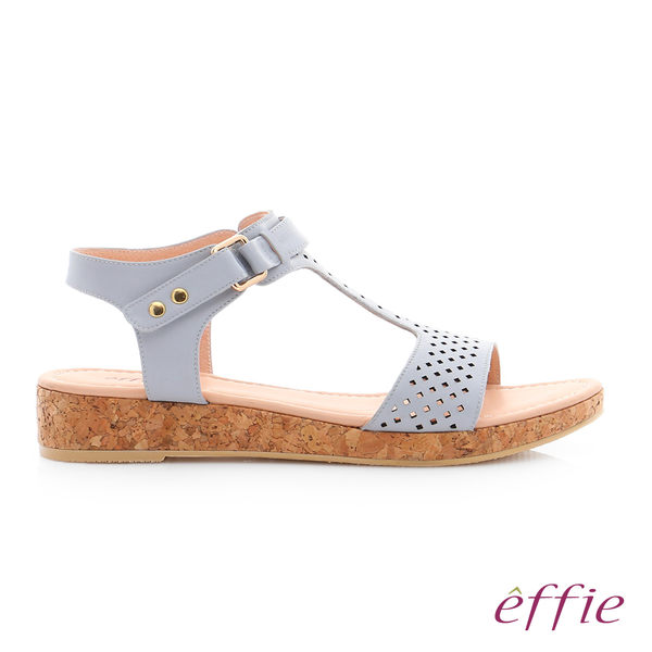 effie 嬉皮假期 真皮超輕透氣夏色涼拖鞋 淺藍
