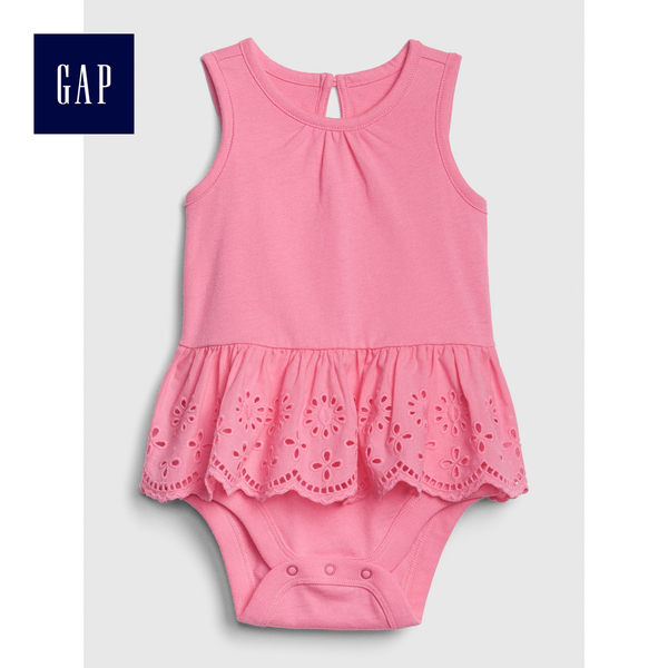 Gap女嬰兒 柔軟繡花鏤空無袖圓領包屁衣 465991-嫩粉色