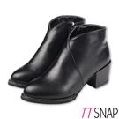 短靴-TTSNAP 韓國空運斜口尖頭拉鍊中跟靴 黑