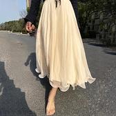 長裙 2020秋冬仙女波浪邊網紗高腰飄逸溫柔閃閃光澤大擺長裙半身裙紗裙