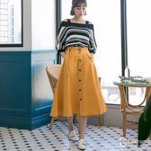 CANTWO復古排釦附腰帶A字裙-共兩色