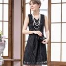 中大尺碼*性感V領滿版花朵蕾絲無袖小禮服洋裝~宴會穿搭~美之札