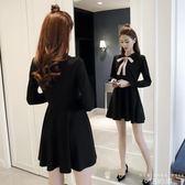洋裝 長袖高腰赫本娃娃領小黑裙蝴蝶結a字蓬蓬連身裙女