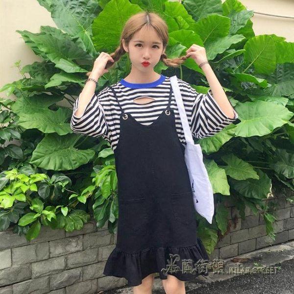 2018夏季女裝韓版chic港味寬鬆顯瘦V領荷葉邊牛仔背帶洋裝學生【米蘭街頭】