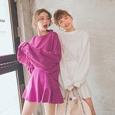 MUMU【G31886】兩件式款寬鬆落肩棉質上衣+裙子。三色