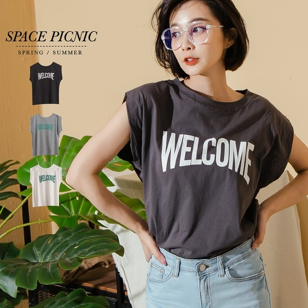 上衣 Space Picnic|Welcome英文印字無袖上衣(現貨)【C20073008】