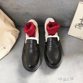 日系復古英倫小皮鞋學院風女鞋平底加絨棉鞋圓頭學生娃娃鞋女   9號潮人館