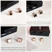 個性韓國耳釘 耳環鍍18K玫瑰金鈦鋼四葉草黑色耳飾品潮男女防過敏  無糖工作室