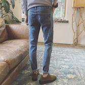 春秋季情侶BF風新款男士牛仔褲韓版修身青少年褲男潮流褲子