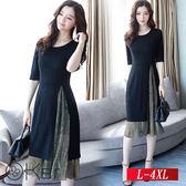 修身顯瘦時尚兩件套洋裝 L-4XL O-Ker歐珂兒 148081-1-C